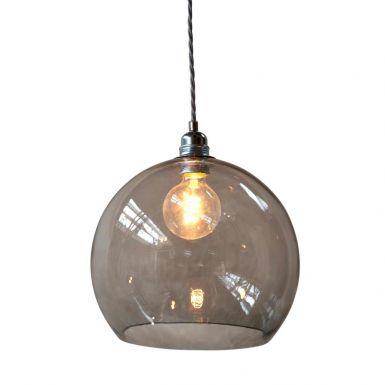 Orb glass pendant 28 cm | grey, silver wire