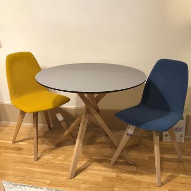 Ex display Akira round table 90cm | Bevelled top 03 | Fenix top Titiano Doha (231049)