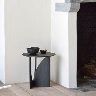 Ethnicraft Black Oak Geometric Side Table