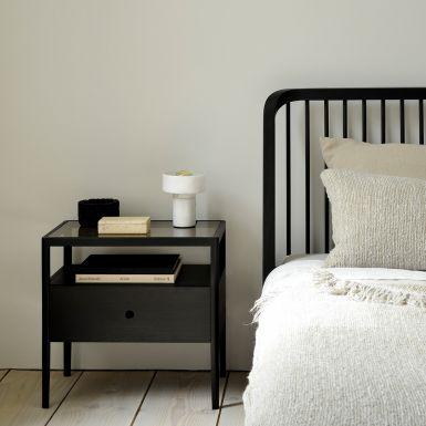Ethnicraft Oak Black Spindle bedside table - 1 drawer