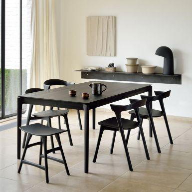 Ethnicraft Bok Black oak extendable dining table