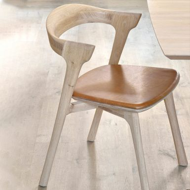 Ethnicraft Oak Bok chair with cognac leather seat