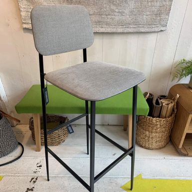 Ex display DC stool with back in light grey fabric