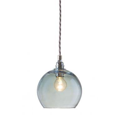 Orb glass pendant 15 cm | topaz blue, silver wire
