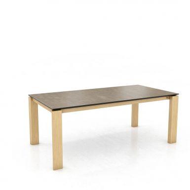 Mason straight leg PB1 Ceramic + oak extending dining table