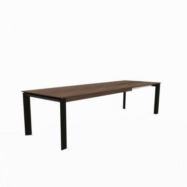 Mason metal leg PB3 walnut extending dining table
