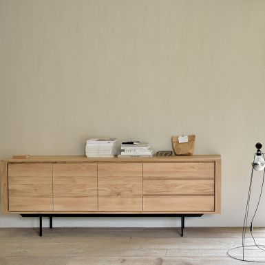 Ethnicraft Oak Shadow sideboard - 3 doors / 3 drawers - black metal legs