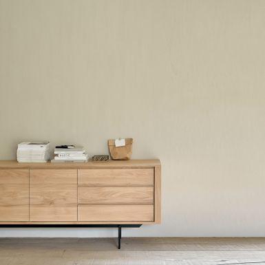 Ethnicraft Oak Shadow sideboard - 2 doors / 3 drawers - black metal legs