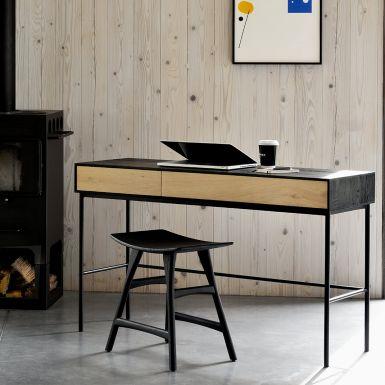 Ethnicraft Oak Osso counter stool - blackstone