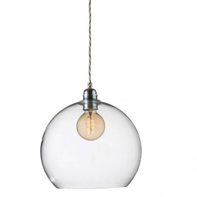 Orb glass pendant 28 cm | clear, silver wire