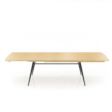 Tate oak + metal extending dining table