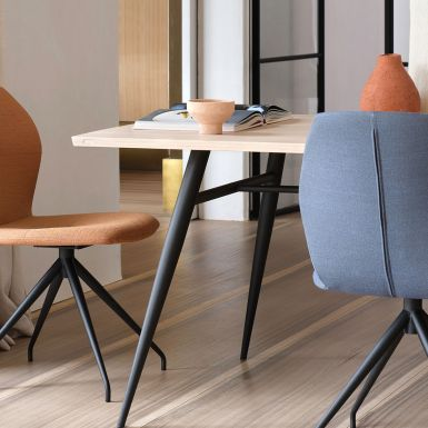 Tate oak + metal dining table