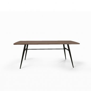 Tate walnut + metal dining table