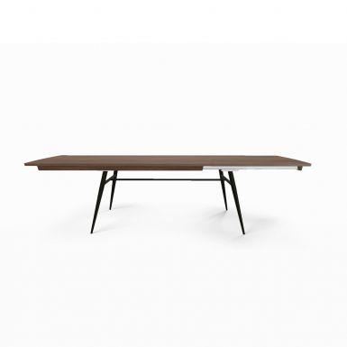 Tate walnut + metal extending dining table