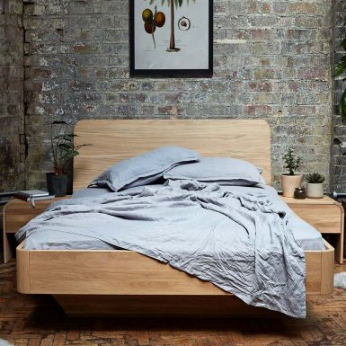 Imola bed with wooden headboard