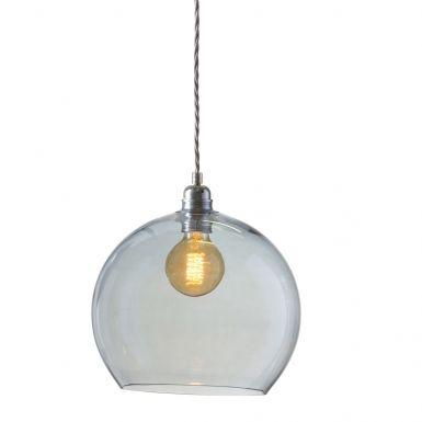 Orb glass pendant 28 cm | topaz blue, silver wire