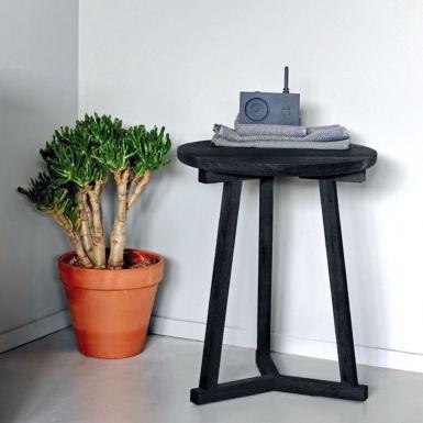Ethnicraft Oak Tripod side tables - Blackstone