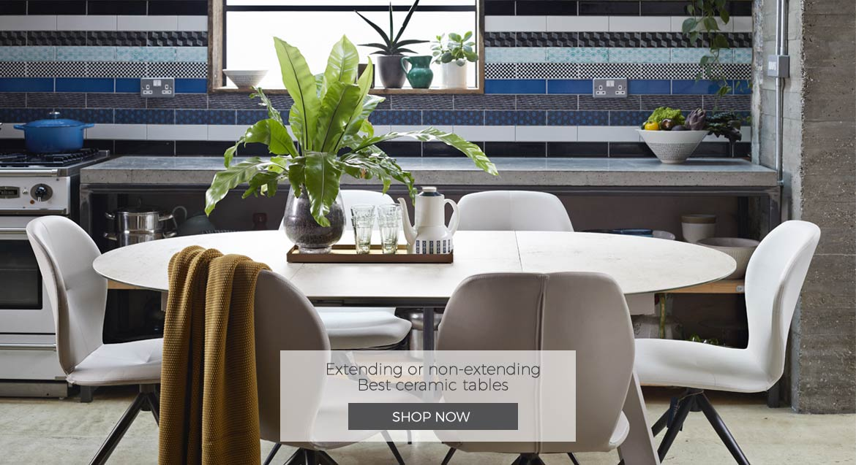 Adventures in Furniture's ceramic dining tables