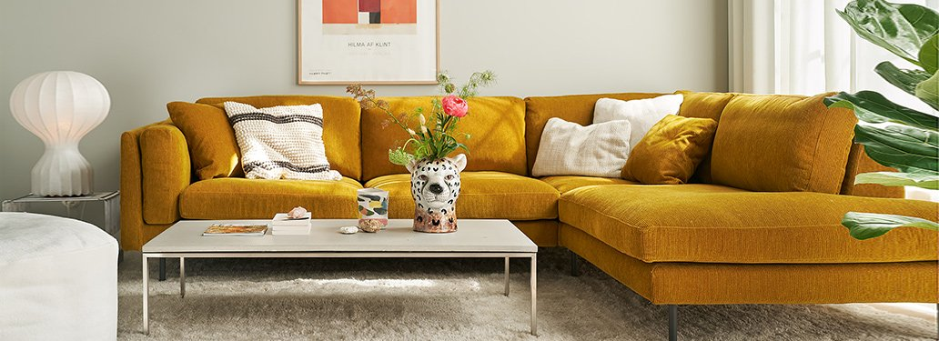 Mustard Corner Sofa Designed By Adventures In Furniture. Our Bespoke 5 Seater Corner Sofa Has Endless Fabric Choices To Fit Every Space In Your Home. Goes Great With A White Rug And White Pillows