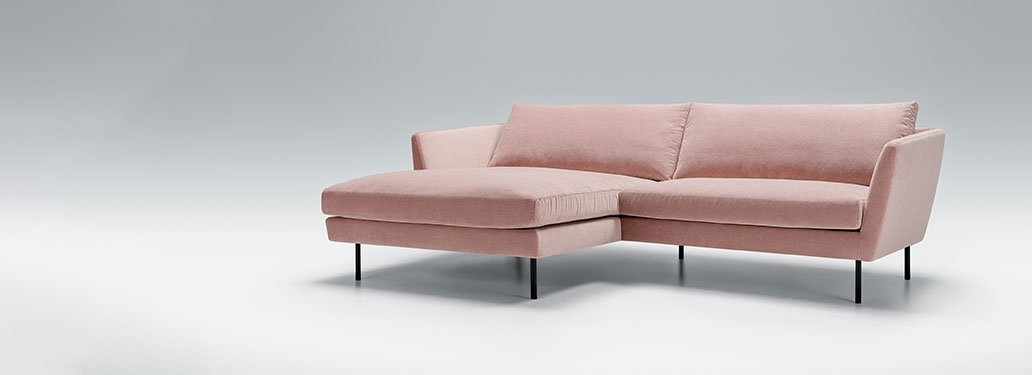 Pink Corner Sofa Designed By Adventures In Furniture. This Contemporary Sofa Also Has Endless Fabric Choices To Fit Every Space In Your Home. The cream sofa on display looks complete with a black or dark grey cushions