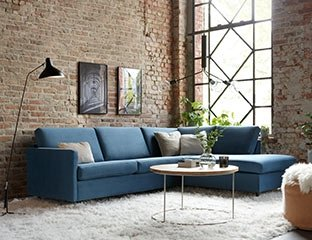 Blue Corner Bed Designed By Adventures In Furniture. This Dark Blue Corner Sofa Has Endless Fabric Choices To Fit Every Space In Your Home. The cream sofa on display looks complete with a cream cushions