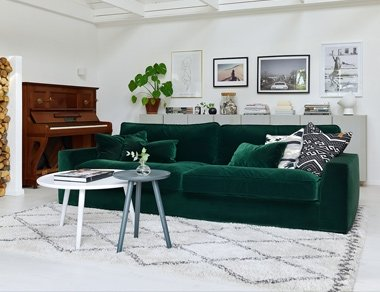 Green velvet sofa Designed By Adventures In Furniture. This Modern Sofa Has Endless Fabric Choices To Fit Every Space In Your Home. This sofa looks amazing in a white themed room or with our modern coffee tables