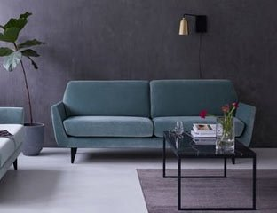 Modern 3 seater sofa designed By Adventures In Furniture. This Bespoke Sofa Has Endless Fabric Choices To Fit Every Space In Your Home