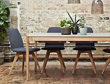 Grey dining table with oak chairs Table By Adventures In Furniture.